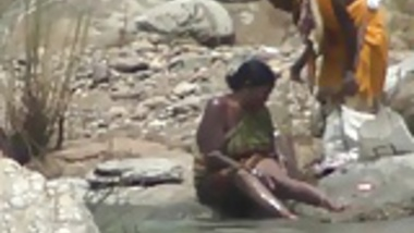 Lady open air bathing in River by Hidden Cam
